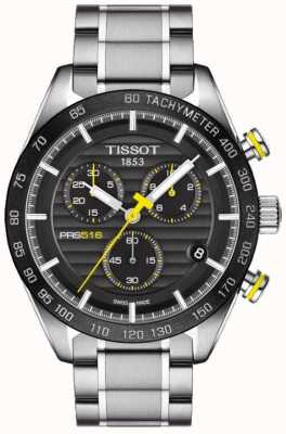 Tissot Mens PRS 516 Chronograph schwarzes Zifferblatt Edelstahlarmband T1004171105100