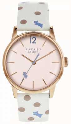 Radley Womens Vintage Hund Punkt Uhr rosa Zifferblatt RY2566