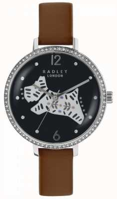 Radley Womens Folk Hund Uhr schwarzes Zifferblatt braun Lederband RY2585