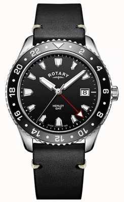 Rotary Mens henley gmt schwarzes Lederband schwarzes Zifferblatt GS05108/04