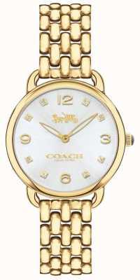 Coach Damen delancey schlanke goldfarbene Armbanduhr silbernes Zifferblatt 14502782