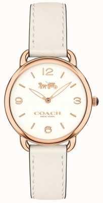 Coach Damen delancey schlanke weiße Lederband Uhr weißes Zifferblatt 14502790