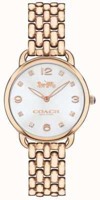 Coach Damen Delancey schlanke Rose Ton Armband Silber Zifferblatt 14502783