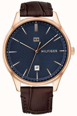 Tommy Hilfiger Damon Uhr braun Lederarmband blaues Zifferblatt 1791493