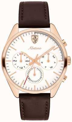 Scuderia Ferrari Mens abetone braun Lederband Uhr weißes Zifferblatt 0830504
