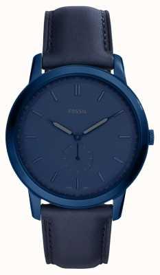 Fossil Mens die minimalistische blaue Lederbanduhr FS5448