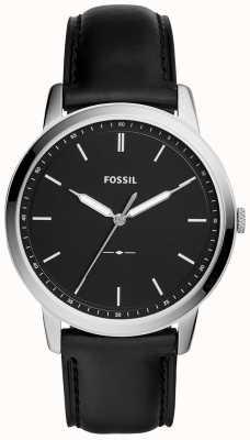 Fossil Mens die minimalistische schwarze Lederbanduhr FS5398