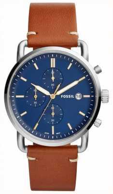 Fossil Herren Pendleruhr blau Chronograph Tan Lederband FS5401