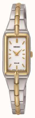 Seiko Frauen-Solar-Rechteck-Zifferblatt zweifarbig Armband SUP272P9