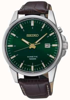 Seiko Herren kinetisches grünes Zifferblatt Datumsanzeige braunes Lederarmband SKA753P1