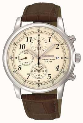 Seiko Chronographen Datumsfenster Lederarmband für Herren SNDC31P1