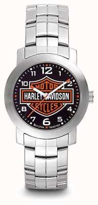 Harley Davidson Herren-Logo-Druck Zifferblatt Edelstahlarmband 76A019