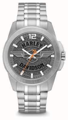 Harley Davidson Zifferblatt und Armband aus Edelstahl mit Logo-Print 76A157