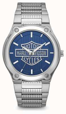 Harley Davidson Armband aus Edelstahl mit blauem Zifferblatt und Logodruck 76A159