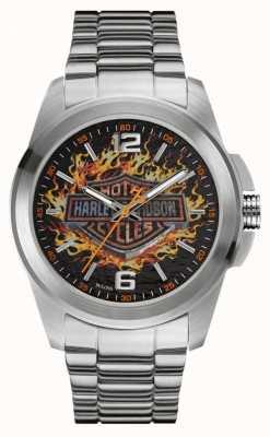 Harley Davidson Flaming Logo-Druck Zifferblatt Edelstahlgehäuse und Armband 76A147