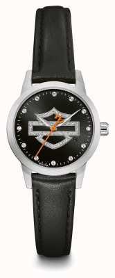 Harley Davidson Damen Kristall-Set schwarzes Logo Zifferblatt schwarzes Lederarmband 76L181