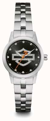 Harley Davidson Schwarzes Logo Kristall Zifferblatt Zifferblatt Edelstahlarmband 76L182