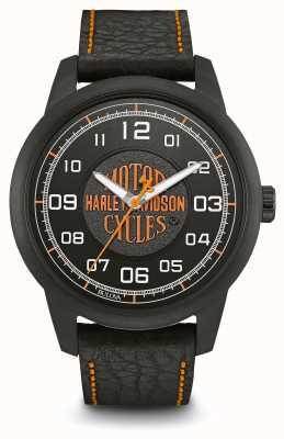 Harley Davidson Logoprint schwarzes Zifferblatt ip plattiertes Gehäuse schwarzes Lederarmband 78A116