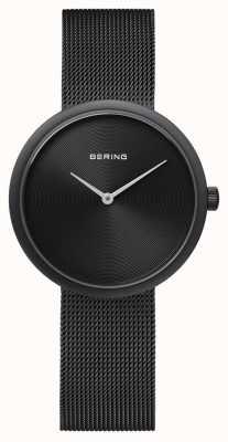 Bering Klassisches mattschwarzes schwarzes Mesh-Armband 14333-222