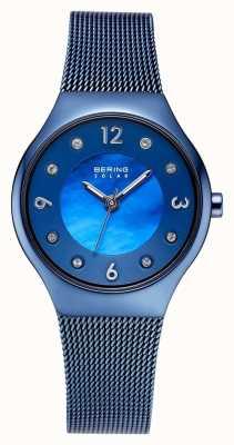 Bering Solar poliertes blaues Zifferblatt und blaues Mesh-Armband aus Kristall 14427-393