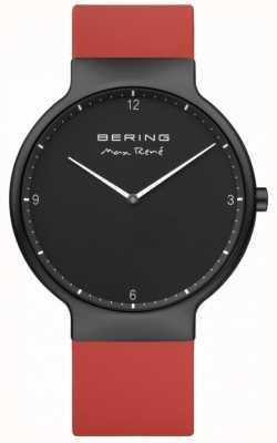 Bering Max René schwarz ip vergoldet Gehäuse rot Silikonband 15540-523