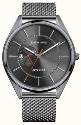 Bering Automatisches Datumsanzeige graues Zifferblatt Edelstahl-Mesh-Armband 16243-377