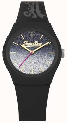Superdry Damen Glitzer Zifferblatt schwarz Silikonhülle & Armband SYL179B