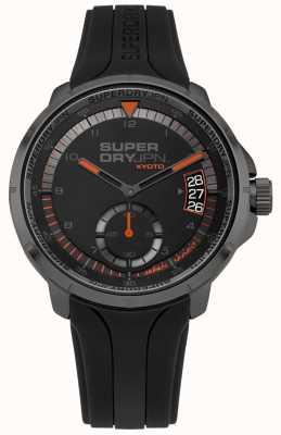 Superdry Männer kyoto Datumsanzeige schwarz Silikonband SYG217BB