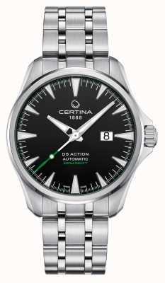 Certina Ds Aktion automatisch großes Datum schwarzes Zifferblatt aus Edelstahl C0324261105100