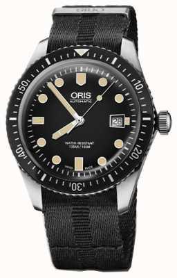 Oris Divers fünfundsechzig automatische schwarze Zifferblatt schwarz Nato-Armband 01 733 7720 4054-07 5 21 26FC