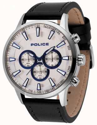 Police Herren Moment Chronograph Uhr schwarzes Lederarmband 15000JS/04