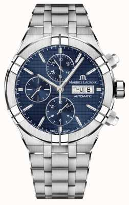 Maurice Lacroix Aikon Automatik Chronograph Edelstahl blaue Zifferblatt Uhr AI6038-SS002-430-1