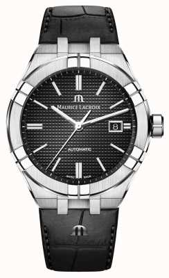 Maurice Lacroix Aikon automatische schwarze Zifferblatt schwarze Lederuhr AI6008-SS001-330-1