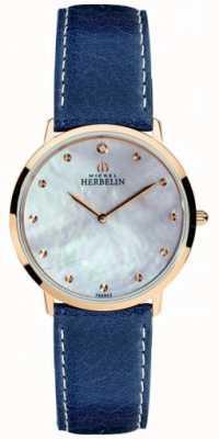 Michel Herbelin Womens ikone blaues Lederarmband Perlmutt Zifferblatt 16915/PR59BL