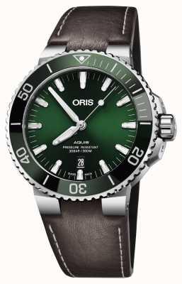 Oris Mens Aquis Datum grünes Zifferblatt schwarz braunes Band 01 733 7730 4157-07 5 24 10EB