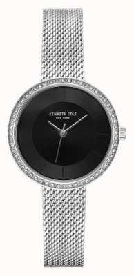 Kenneth Cole Damen Diamant Set schwarz Zifferblatt Edelstahlgewebe KC50198002