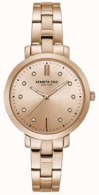 Kenneth Cole Damen-Diamant-Set Roségold-Gehäuse Roségold-Armband-Uhr KC15173005