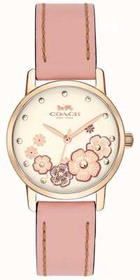Coach Womens Grand-Pink-Lederband Creme floral Zifferblatt 14503060
