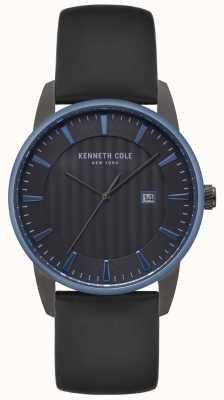 Kenneth Cole Herren Kleid schwarzes Zifferblatt schwarz Lederuhr KC15204004