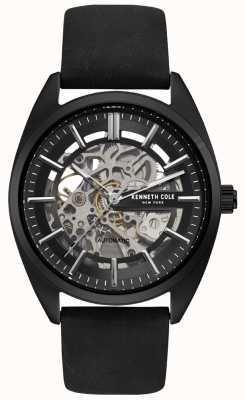 Kenneth Cole Mens Skeleton Zifferblatt schwarz Lederband Uhr KC50064001