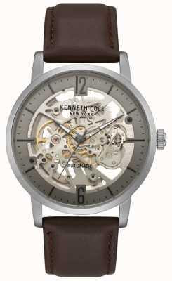 Kenneth Cole Skeleton Zifferblatt braun Lederarmband Uhr KC50054001
