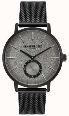 Kenneth Cole Herrenuhr schwarz grau Unterzifferblatt mit schwarzem Netzarmband KC50055001