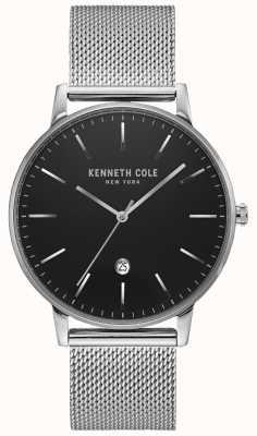 Kenneth Cole Klassische schwarze silberfarbene Edelstahl-Mesh-Uhr KC50009004
