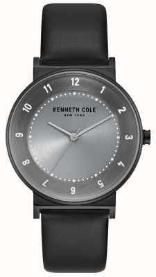 Kenneth Cole Frauen Gunmetal Fall mit schwarzem Lederarmband KC50074001