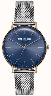 Kenneth Cole Dunkelblaue Zifferblatt Edelstahl-Mesh-Uhr KC15183003