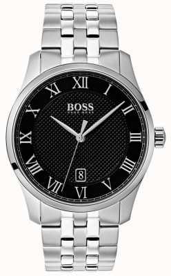 Boss Herrenuhr aus Edelstahl mit schwarzem Zifferblatt 1513588