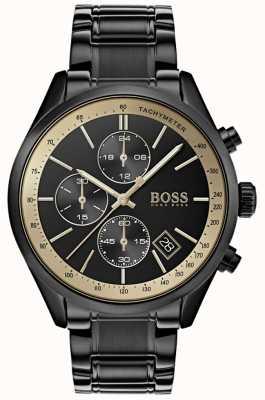 Boss Grand-Prix-Armbanduhr für Herren mit schwarzem IP / Gold-Akzent 1513578