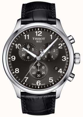 Tissot Herren T-Sport XL Chronograph schwarzes Zifferblatt schwarzes Lederarmband T1166171605700