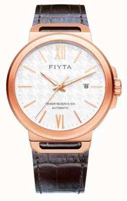 FIYTA Solo automatische braunes Leder weißes Zifferblatt Saphir GA852000.PWK