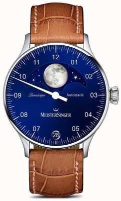MeisterSinger Pangaea lunascope braunes Armband blaues Zifferblatt LS908